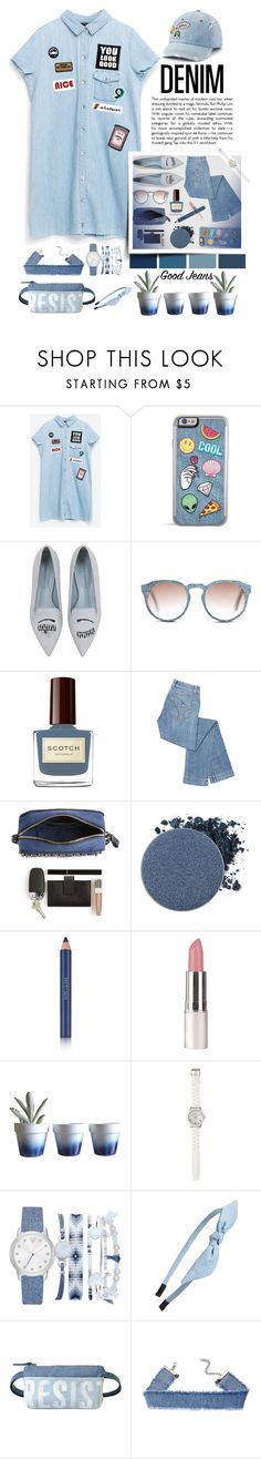 """""""DENIM, HEAD TO TOE"""" by emcf3548 ❤ liked on Polyvore featuring Vision, Chiara Ferragni, Mosevic, Valentino, Anastasia Beverly Hills, Estée Lauder, Dot & Bo, LOFT, A.X.N.Y. and Cara"""