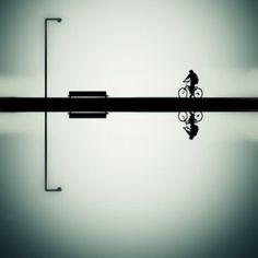 Street View Photography - Balance by YongJun Qin Claude Monet, Vincent Van Gogh, Shadow Art, Bicycle Art, Light And Shadow, Light Art, Great Photos, Track Lighting, Illusions