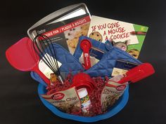 """Cookie Baking Gift Basket To promote our Literacy Night at school, I created themed gift baskets to raffle off. Each basket included a book that matched the theme of the basket. Book include was """"If You Give a Mouse a Cookie. Theme Baskets, Book Baskets, Themed Gift Baskets, Wine Baskets, Cookie Gift Baskets, Diy Gift Baskets, Cookie Gifts, Fundraiser Baskets, Raffle Baskets"""