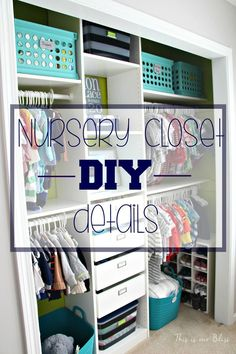 Baby boy nursery closet - DIY nursery closet details - navy green gray - This is our Bliss