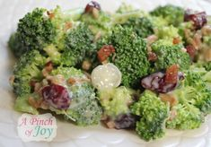 broccoli salad with bacon, onions, and craisins. I add apple and it's even more delicious! (need to find a way for me to make this without mayo since I can't eat it. Wonder if Greek yogurt would work?)