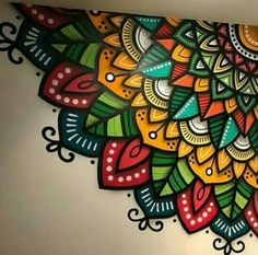 Simple Wall Paintings, Wall Painting Decor, Madhubani Painting, Mandala Painting, Creative Wall Decor, Creative Art, Mural Art, Wall Art, African Art Paintings