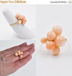 ON SALE Vintage 14K Gold & Coral Cluster by HauteVintageJewels