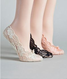 For the reception and dancing???  Lace foot liners - stretch nylon lace