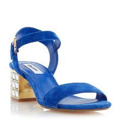 DUNE LADIES HARAH - Jeweled Block Heel Sandal - blue | Dune Shoes Online