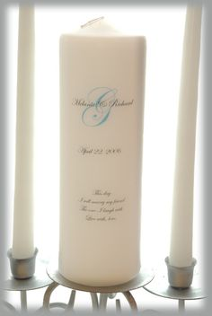personalized unity candle set with monogram wedding candles weddings wedding decorations