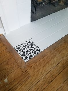 Learn how to stencil a fireplace hearth using the Augusta Tile Stencil from Cutting Edge Stencils. http://www.cuttingedgestencils.com/augusta-tile-stencil-design-patchwork-tiles-stencils.html