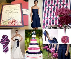 Cake Gold Navy Blue And Pink Wedding   Navy Blue and Hot Pink Wedding Inspiration :: Groom Sold Separately ...