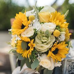 spring or summer wedding flower bouquet with Sunflowers