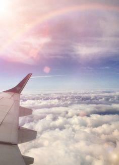 Sky Plane view, sun & clouds