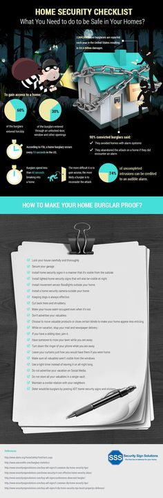 Home Security Checklist ( Infographic ) - Security Sign Solutions #homesecuritysystemhacks