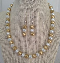 Gold and White Pearl Necklace Bridesmaid by CherishedJewelryCo, $24.00