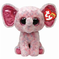 Ty Beanie Boos Ellie Pink Speckled Elephant Regular Plush: The world famous Beanie Babies Beanie Boos are forever filled with fun. Ultra iconic, ever loved. Ty Beanie Babies are the best. Ty Beanie Boos, Ty Boos, Beanie Babies, Big Eyed Stuffed Animals, Ty Peluche, Ty Animals, Boo And Buddy, Ty Babies, Pink Elephant