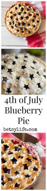 of July Dessert Recipe: Star Spangled Blueberry Pie - Betsylife 4th Of July Desserts, Fourth Of July Food, Just Desserts, Delicious Desserts, Yummy Food, July 4th, Pie Dessert, Dessert Recipes, Blueberry Pie Recipes
