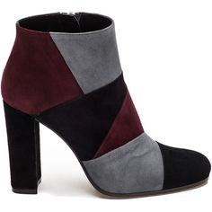 ROBERTO FESTA 103007 Black/Grey/Wine Suede Bootie (£150) ❤ liked on Polyvore featuring shoes, boots, ankle booties, black suede bootie, grey ankle boots, ankle boots, black high heel booties and grey suede booties