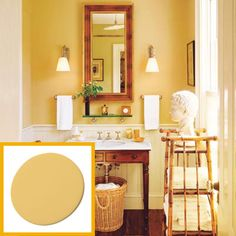 Benjamin moore dorset gold Wall Paint | Create a British Colonial-Style Powder Room | Photos | Bathroom | This Old House