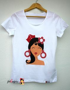www.pikapic.es Camiseta t-shirt flamenca Outfits For Spain, Spanish Party, Fashion Design Drawings, Beaded Bags, Andalucia, Designs To Draw, Applique, T Shirts For Women, Embroidery
