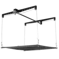 This might be the answer to our sunroom idea! How to suspend a dining table from the ceiling and then lower it for use, then raise to ceiling to keep out of the way- Racor PHL-1R Pro HeavyLift 4-by-4-Foot Cable-Lifted Storage Rack by Racor,