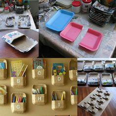 nah kaan.. kreatif nih.. dari piring plastik jd box untuk peralatan tulis di meja kerjanya ビーちゃん ♪♪