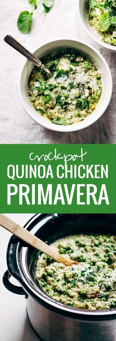 Crockpot Quinoa Chicken Primavera - Both healthy and comforting, plus it makes for a super easy dinner! Loaded with peas, asparagus, quinoa, garlic, parmesan, and chicken. YUM!