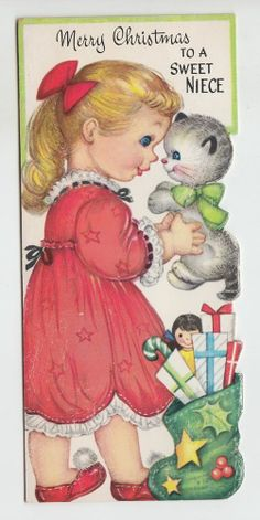 Vintage Die Cut Girl With Kitten and Gifts Niece At Christmas Greeting Card