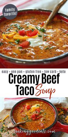 Instapot Soup Recipes, Beef Soup Recipes, Ground Beef Recipes, Crockpot Recipes, Cooking Recipes, Chowder Recipes, Healthy Recipes, Ketogenic Recipes, Keto Recipes