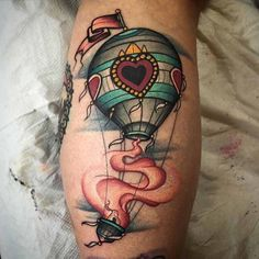 # @andrewjohnsmith. For bookings call 01216086086 or email paintedladytattooparlour@gmail.com ______________________________  #paintedladytattoo #plt #northfield #birmingham #birminghamtattooists #balloontattoo #balloon #hotairballoon #hotairballoontattoo #trad #traditional
