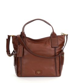 Brown:Fossil Emerson Convertible Satchel