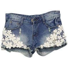 ClothingLoves Women's Floral Lace Patchwork Denim Low Waist Shorts ($17) ❤ liked on Polyvore featuring shorts, patchwork shorts, flower print shorts, floral shorts, lacy shorts and floral printed shorts