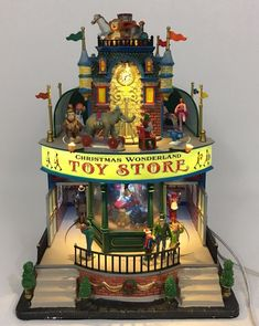 Lemax Christmas Wonderland Toy Store Music & Motion Missing 2 Flags READ* #Lemax