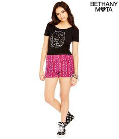 Owl Crop Top and high waisted tribal print shorts-- Bethany Mota Collection
