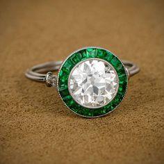 The Gryphon's Nest — Art Deco Diamond & Emerald Ring