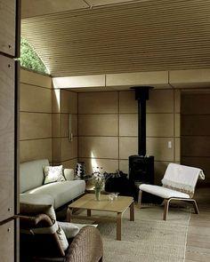 1000 square foot house in Tibirke, Denmark | Kim Utzon | cedar slat barrel vault ceiling