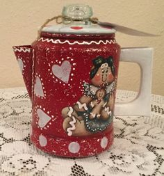 Gingerbread Red White Coffee Pot. Ginger by CraftsByJoyice on Etsy