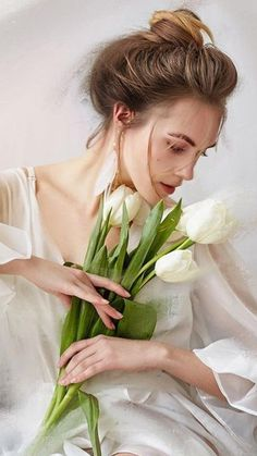 Flower Girl Photos, Girls With Flowers, White Tulips, Pink White, Beauty In Art, Spring Green, Absolutely Gorgeous, Female Art, Beautiful People