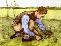 Boy Cutting Grass with a Sickle - Vincent van Gogh, 1881 - Watercolor on paper. Rijksmuseum Kröller-Müller, Otterlo, Netherlands