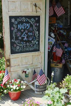 A Patriotic Salute in the Potting Shed #ladder #flag #july4th #chalkboard