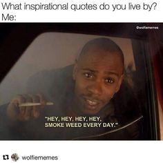 Old school Dave Chapelle Funny Weed Memes, 420 Memes, Funny Quotes, Funny Shit, Funny Pics, Drug Memes, Medical Marijuana, Stoner Humor, Frases