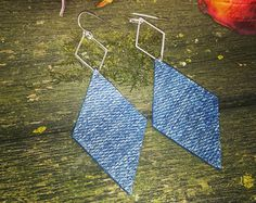 Drop Diamond Denim Jean Earrings