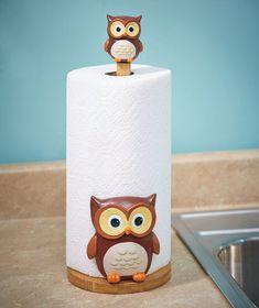 Owl Paper Towel Holder Pinned by www.myowlbarn.com