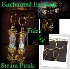 Glowing Geeky Steam Punk Fairy Earrings by FairyGlowLantern, $32.00