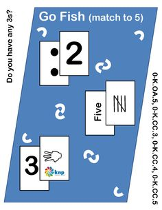 """""""Go Fish (match to 5)"""" - Read numbers and match the amount with the correct numbers/pictures up to 5. Supports learning Common Core Standards: 0-K.OA.5, 0-K.CC.3, 0-K.CC.4, 0-K.CC.5 [KNP Task # S 2205.0]"""