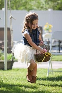 COUNTRY CHIC WEDDING IDEAS- a darling, casual outfit for the flower girl, love the combination of basket, tutu and denim top