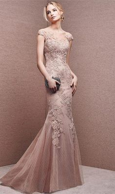 Champagne+Mermaid+Wedding+Dresses+2016+Short+Sleeves+Sexy+Backless+Lace+Appliques+Wedding+Dresses+Bride+2016