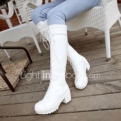 Women's Shoes PU Spring Comfort Boots Chunky Heel Round Toe For Casual White Black 2017 - £15.68