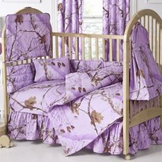 Realtree All Purpose Lavender Crib Set - Camouflage bedding- Baby Bedding- Camouflage & Hunting Decor