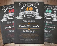 40th Birthday Invitation Chalkboard 40th Birthday by invitefull, $15.00