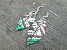 Faux Leather Feather Earrings  Native American by EarthChildArt