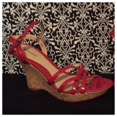 "Weekend Sale - No Boundaries Wedges Red and tan strappy wedge shoes. Cute and fun to wear, you can dress up or down with these shoes. They have a 4"" heel and 1"" platform at the front. Size says 9 1/2, but they better fit an 8 1/2. No Boundaries Shoes Wedges"