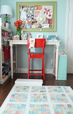 Adorable work space! I want a red chair!! And a spot like this!!! Can I just get pinterest to come and do my house please!!!